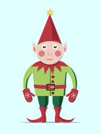 christmas hats: Christmas elf in green clothes and red hat standing on light blue background. EPS 8 vector illustration, no transparency