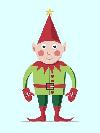 duendes de navidad: Duende de la Navidad en ropa verde y un sombrero rojo de pie en el fondo de color azul claro. EPS 8 vector ilustración, sin transparencia