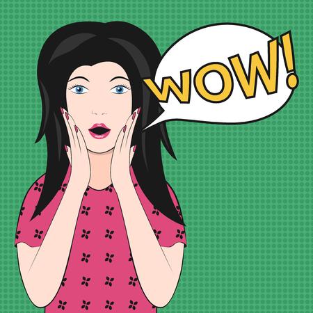 wow: Mujer hermosa sorprendida con la boca abierta diciendo wow en verde. EPS 8 vector ilustración, sin transparencia