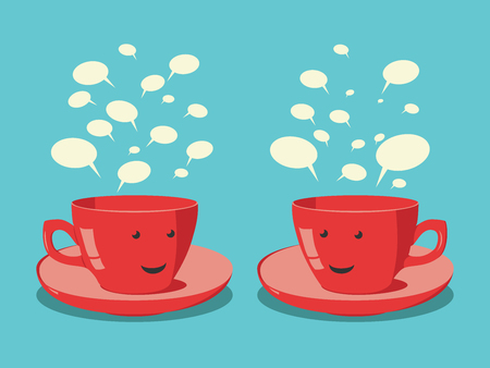 Two smiling red cups with faces and speach clouds communicating. EPS 10 vector illustration, no transparency
