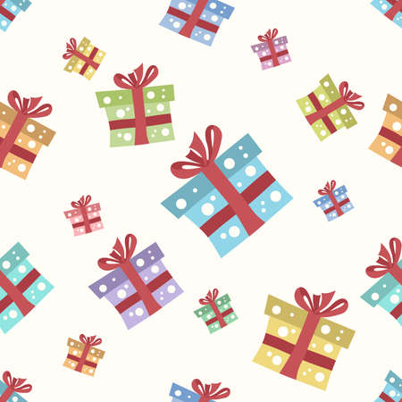yellowish: Gift boxes seamless pattern on light yellowish background. EPS 8 vector illustration, no transparency