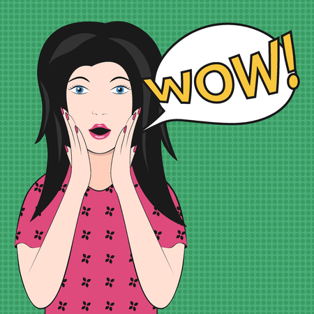 exclaim: Surprised beautiful woman with open mouth saying wow on green. EPS 8 vector illustration, no transparency