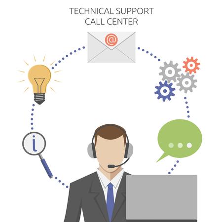 hombres trabajando: Hombre que trabaja en centros de llamadas de soporte técnico, estilo plano. EPS 8 vector ilustración, sin transparencia