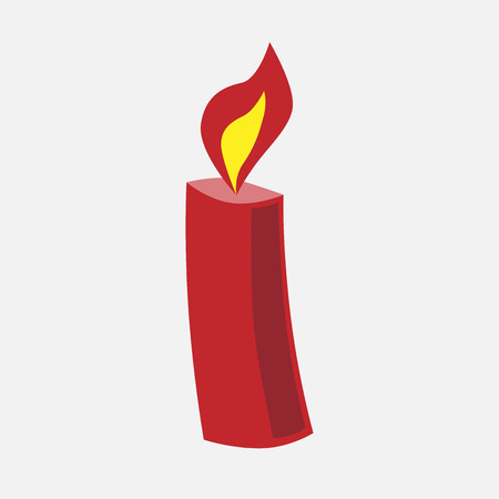 eps 8: Burning festive Christmas red candle with flame. EPS 8 vector illustration, no transparency Illustration