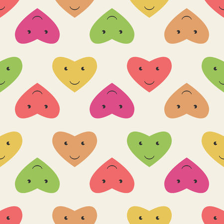 rosy: Seamless pattern of smiling hearts characters of various colors. EPS 8 vector illustration, no transparency