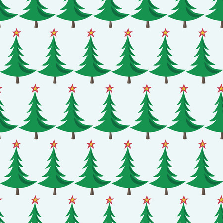Seamless pattern of Christmas trees with stars on bluish background. EPS 8 vector illustration, no transparency