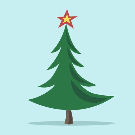 eps 8: Christmas tree with shining star isolated on blue background with drop shadow. EPS 8 vector illustration, no transparency
