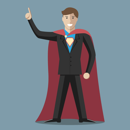 great suit: Businessman super hero wearing black suit and blue shirt with emblem. Great idea concept. Flat style. EPS 8 vector illustration, no transparency Illustration