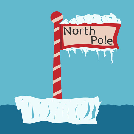 icicles: Red North Pole sign with snow, ice and icicles floating on ice floe. EPS 8 vector illustration, no transparency