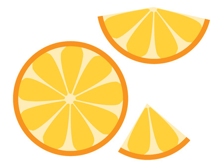 eps 8: Orange slices. Half slice and smaller ones. Isolated on white. EPS 8 vector illustration, no transparency