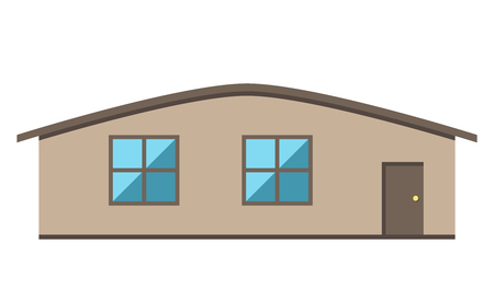 eps 8: Single-storey house with door and two windows, front view, isolated on white. Flat style. EPS 8 vector illustration, no transparency Illustration