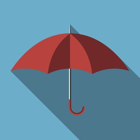 red umbrella: Red umbrella with long shadow on blue background, flat style. EPS 8 vector illustration, no transparency Illustration