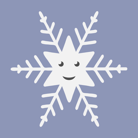 eps 8: Cheerful happy smiling white snowflake character on violet background. EPS 8 vector illustration, no transparency