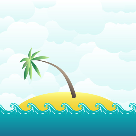 desolate: Tropical desert island with single palm tree on cloudy sky background. EPS 10 vector illustration, transparency and gradients used