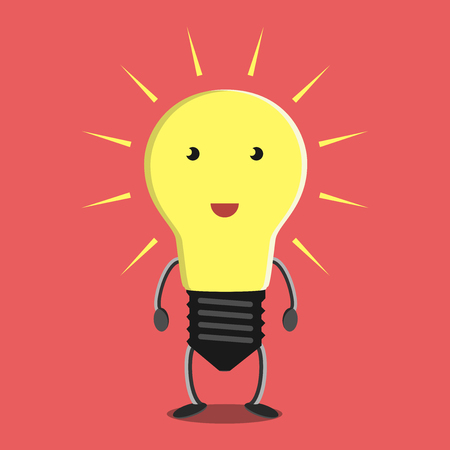 eps 8: Glowing light bulb character on red background. Idea, insight, solution, inspiration, eureka, success and aha moment concept. EPS 8 vector illustration, no transparency
