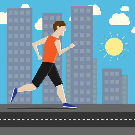 athlete cartoon: Man running along sidewalk in city with sky, sun, houses and skyscrapers in background. Flat style. EPS 8 vector illustration, no transparency Illustration