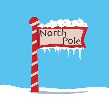 north pole sign: Red North Pole sign and snow, ice and icicles. EPS 8 vector illustration, no transparency