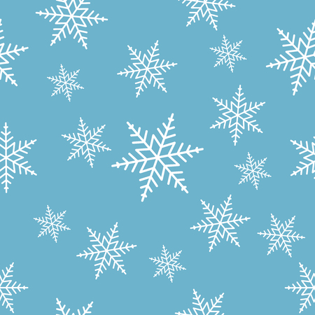 eps 8: Seamless white snowflakes on blue background pattern. EPS 8 vector illustration, no transparency Illustration