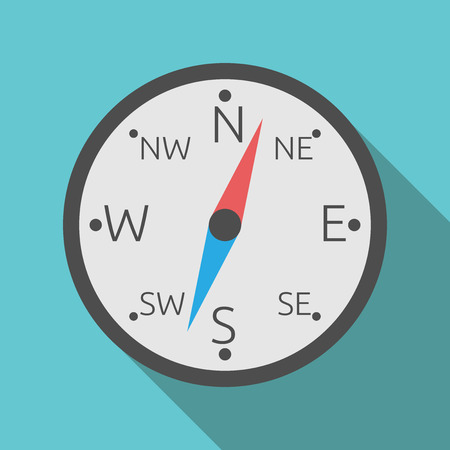eps8: Compass with red and blue hand on blue background with long drop shadow. Flat style. EPS 8 vector illustration, no transparency