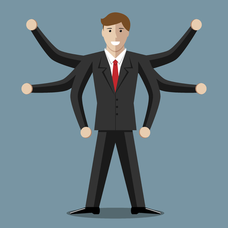 eps 8: Many-armed businessman or manager with six hands. Multitasking, success, versatility, competence, efficiency, management, business concept. EPS 8 vector illustration, no transparency