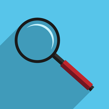 solution icon: Magnifying glass. Magnifier on blue background with long shadow, flat style. Search, analysis, research concept. EPS 8 vector illustration, no transparency Illustration