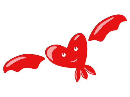 eps 8: Flying smiling dreaming pensive  happy red heart character with eyes and mouth isolated. EPS 8 vector illustration, no transparency