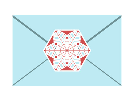 sealed: Bluish envelope sealed with beautiful white and red snowflake isolated on white. EPS 8 vector illustration, no transparency Illustration