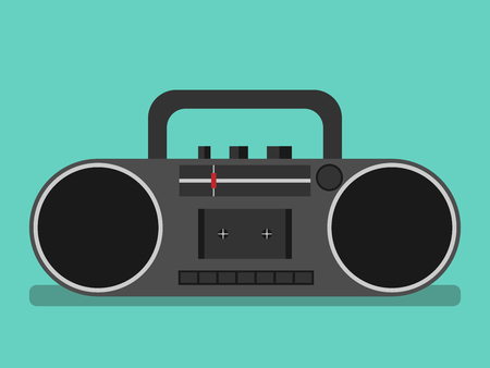 boombox: Black tape recorder on turquoise blue background with drop shadow. Boombox, audio player. Flat style. EPS 8 vector illustration, no transparency