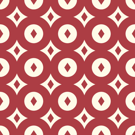eps 8: Red and light yellowish retro background of diamonds and circles, seamless pattern. EPS 8 vector illustration, no transparency Illustration