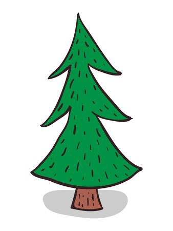 firtree: Beautiful green hand-drawn fir-tree. Christmas tree isolated on white.vvector illustration, no transparency