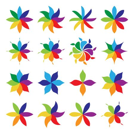vivid colors: Set of birght vivid multicolor flowers. Collection of flowers with petals of many colors.   vector illustration, no transparency Illustration