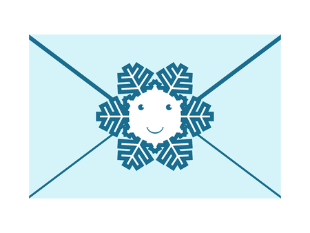 envelope decoration: Beautiful bluish envelope sealed with smiling happy snowflake character isolated on white background.   vector illustration, no transparency