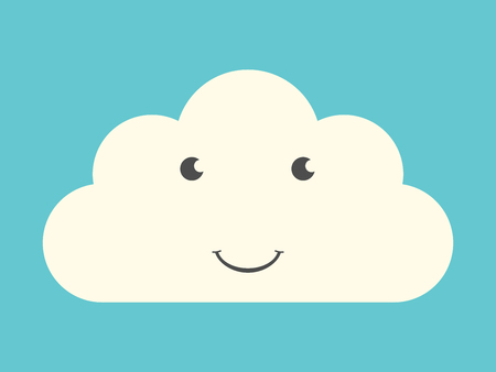 blue eyes: Happy smiling cloud character with eyes and mouth on turquoise blue sky background. Weather, technology, nature, happiness concept.  vector illustration, no transparency