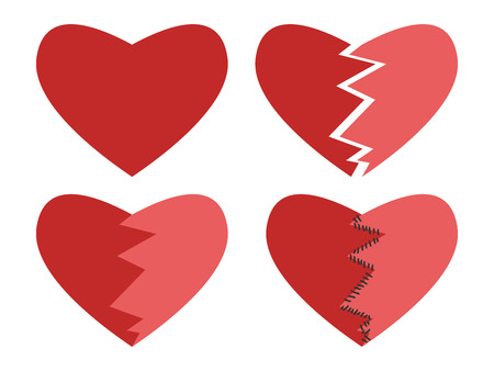 mended: Set of happy, broken and mended hearts isolated on white.  vector illustration, no transparency Illustration