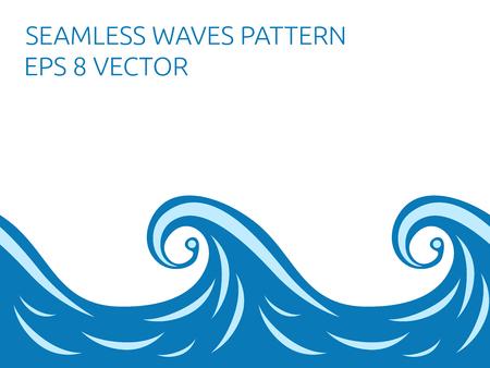 Beautiful stylish blue seamless waves pattern.  vector illustration, no transparency Ilustrace