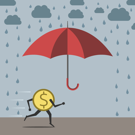 dangerous: Yellow dollar coin running to red umbrella protecting against rain, flat style. vector illustration, no transparency