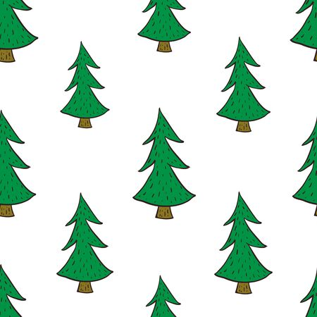firtrees: Beautiful hand-drawn fir-trees seamless pattern. Green Christmas tree isolated.   vector illustration, no transparency Illustration