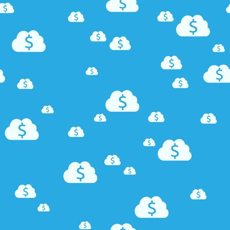 dollar signs: Seamless pattern of sky and clouds with dollar signs. Money, wealth, business, dreams, success and planning concept.   vector illustration, no transparency