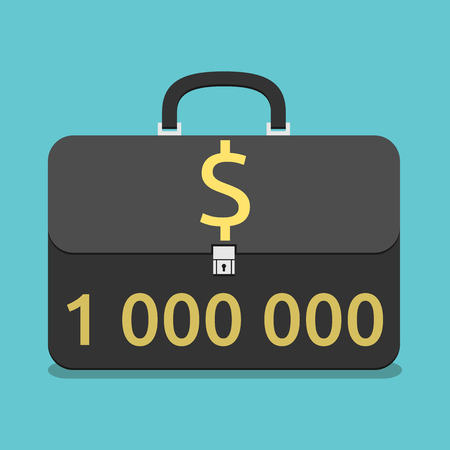 million dollars: Black briefcase with million dollars inside it. Flat style. Wealth, success, investment, business concept. vector illustration, no transparency Illustration