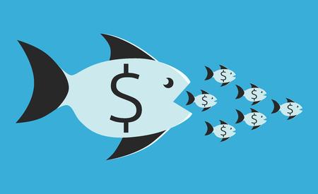 Los peces grandes con signo de dólar comer muchos pequeños. La competencia, la fusión, la ilustración Concepto de negocio, sin transparencia Ilustración de vector