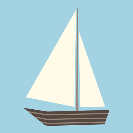 yachting: Sailing boat with white sail isolated on blue. Travel, vacation and yachting concept.   vector illustration, no transparency