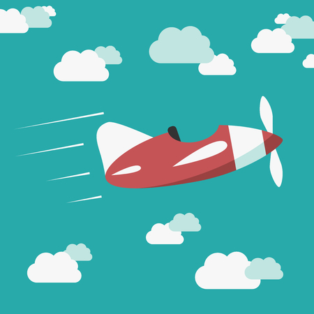 unmanned: Red unmanned plane flying among clouds in blue sky without pilot.  vector illustration, no transparency Illustration
