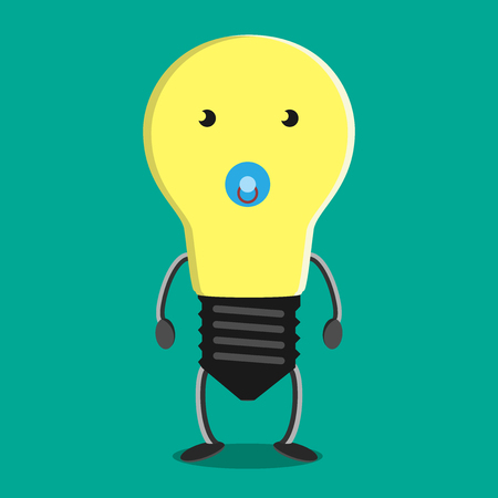Young child light bulb character with soother on blue. Idea, insight, solution, inspiration, eureka, success and aha moment concept.  vector illustration, no transparency Vettoriali