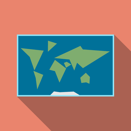 simplified: Simplified world map with blue ocean and green land on orange background with long drop shadow. Flat style.  vector illustration, no transparency