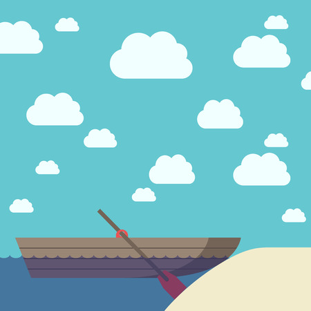 oar: Empty wooden boat with oar near yellow sand beach on beautiful sky background with clouds.   vector illustration, transparency used Illustration