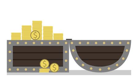 cofre del tesoro: A pecho abierto lleno de monedas de oro del d�lar. Tesoro, una gran cantidad de dinero aislados sobre fondo blanco. Vista lateral. ilustraci�n vectorial, no hay transparencia Vectores