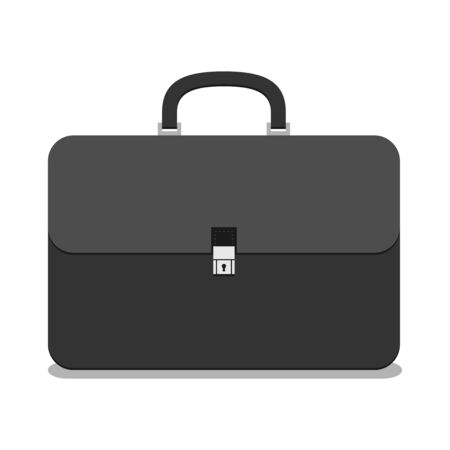 black briefcase: Black briefcase isolated on white background with drop shadow. Business, finance, work, job concept.  vector illustration, no transparency