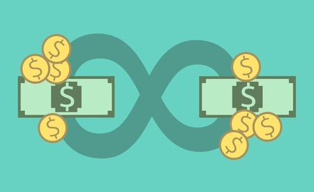 circulating: Money circulating around infinity sign. Economics, profit, banking, banks, budget, market, economy, demand and offer concept.   vector illustration, no transparency