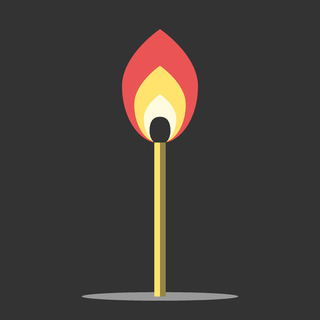 creativity concept: Burning match in black darkness. Motivation, creativity, inspiration, success, faith and belief concept. Flat style.   vector illustration, no transparency