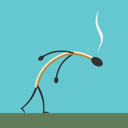 Exhausted burned match character going across green field on blue sky background. Exhaustion, tiredness and purpose concept.   vector illustration, no transparency